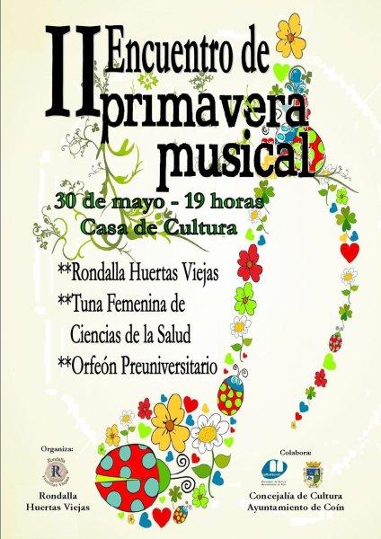 Cartel concierto del Orfeón Preuniversitario de Málaga el 30 de mayo de 2015
